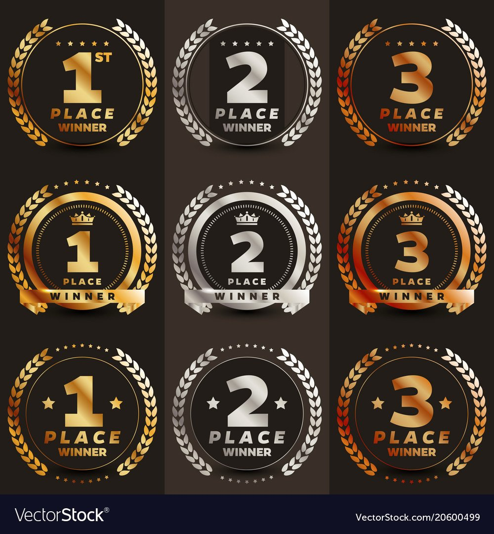 Printable 1st 2nd 3rd Place Ribbons New 1st 2nd 3rd Place Logo with Laurels and Ribbons Vector Image