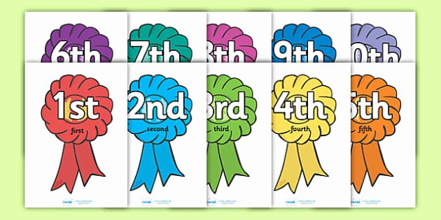 Printable 1st 2nd 3rd Place Ribbons New ordinal Number Posters Rosettes Display Posters Counting
