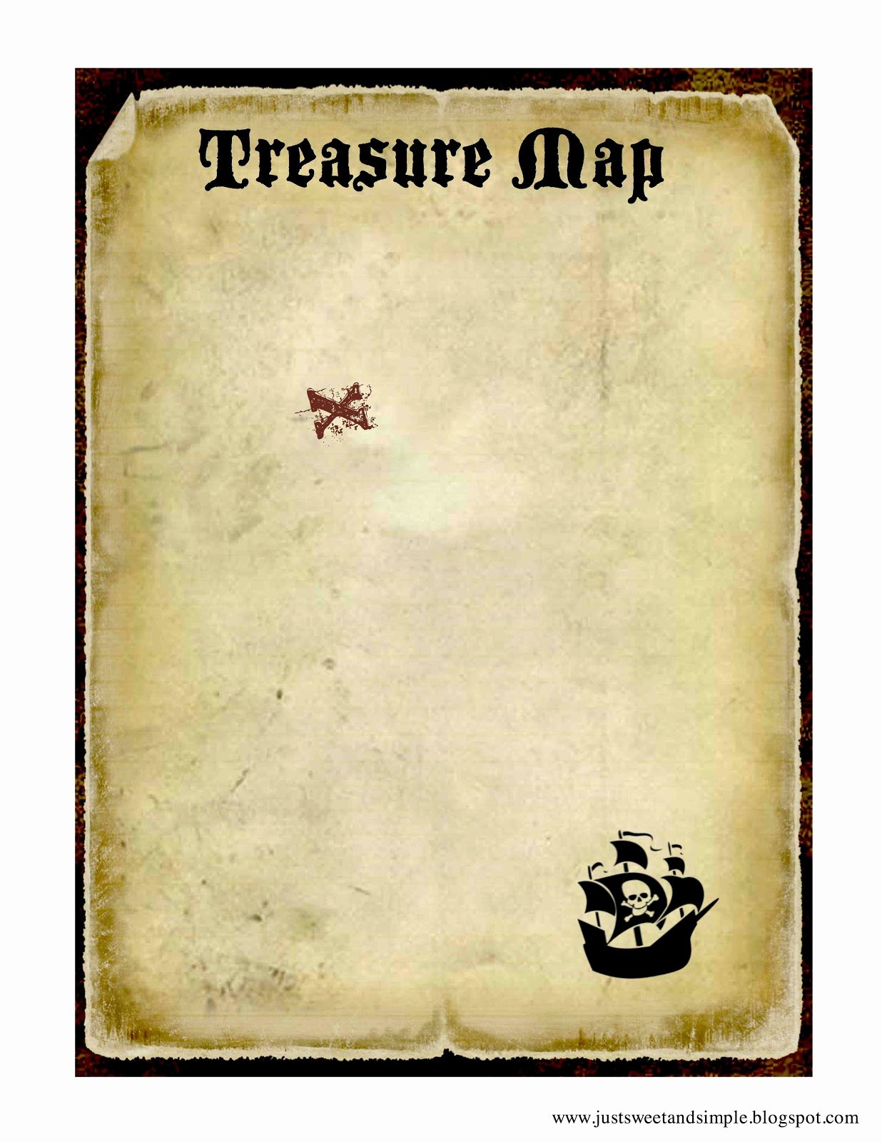 Printable Blank Treasure Map Awesome Just Sweet and Simple Kids Pirate Party