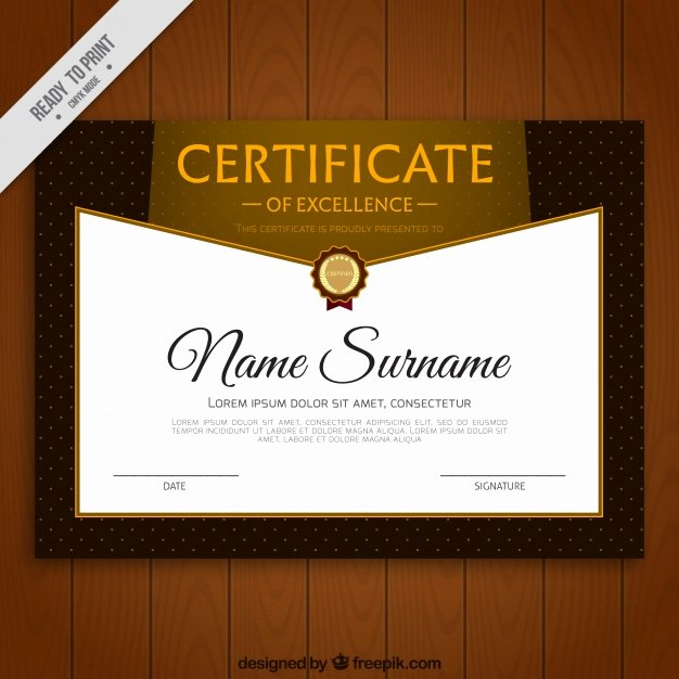 Printable Certificate Of Excellence Awesome Certificate Of Excellence with Decorative Dots Vector
