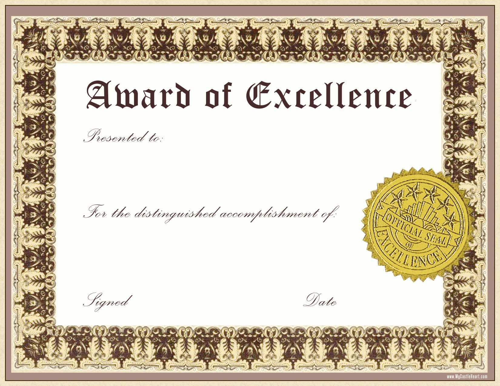 Printable Certificate Of Excellence Best Of Free Download Award Certificate Template Samples Thogati