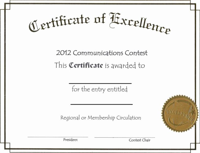 Printable Certificate Of Excellence Elegant Free Editable Certificate Of Excellence Template Example