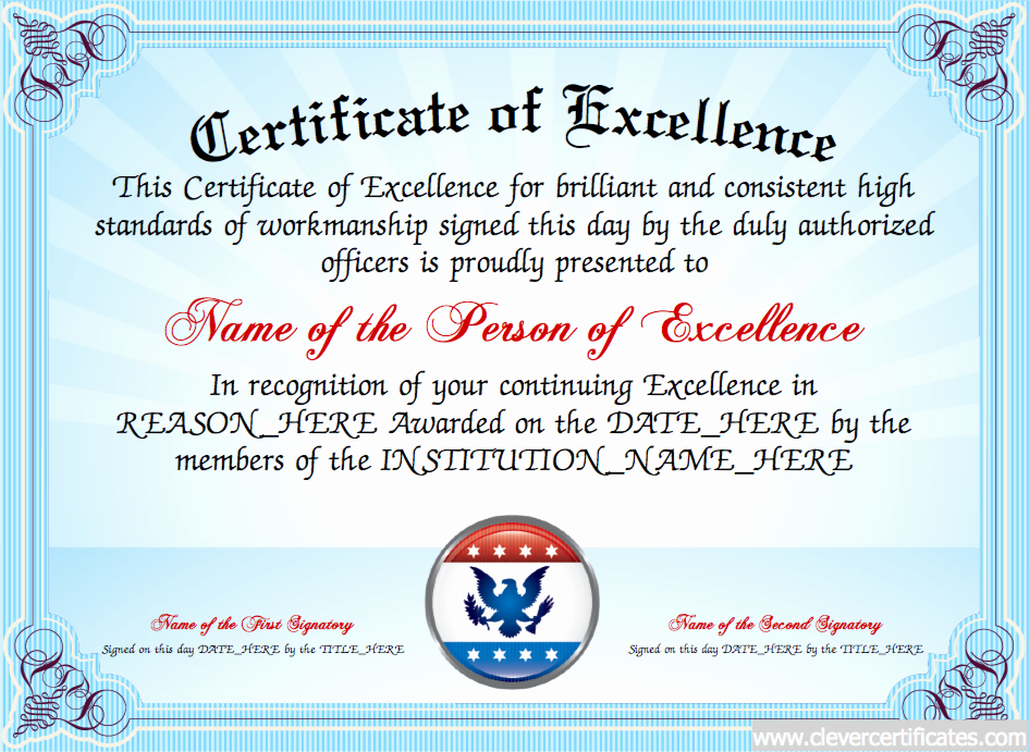 Printable Certificate Of Excellence Lovely Certificate Of Excellence Free Certificate Templates for