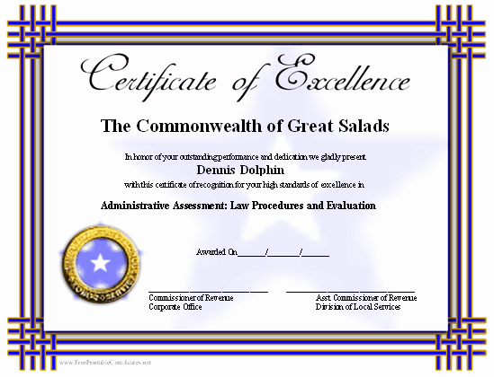 Printable Certificate Of Excellence Luxury Certificate Of Excellence Printable Certificate