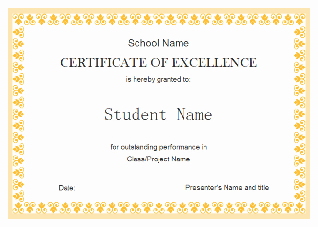 Printable Certificate Of Excellence New Perfect Example Of Editable Certificate Of Excellence