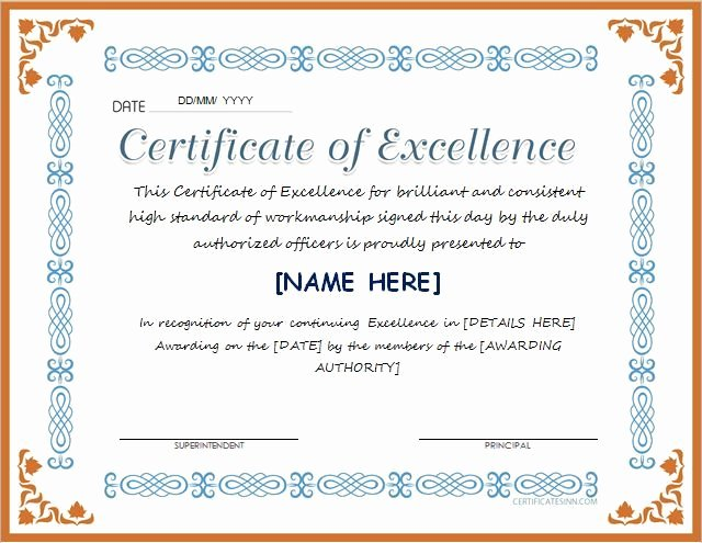 Printable Certificate Of Excellence New Pin by Alizbath Adam On Certificates