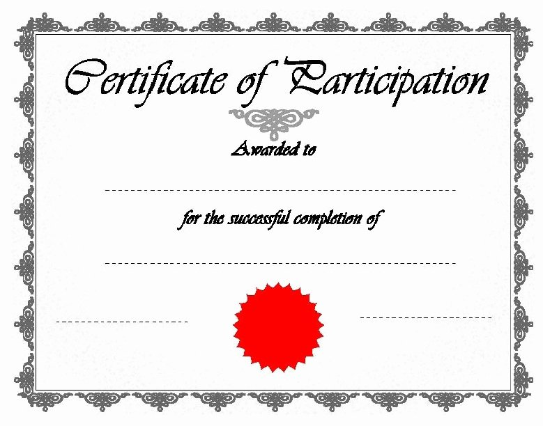 Printable Certificate Of Participation Awesome 11 Free Sample Participation Certificate Templates