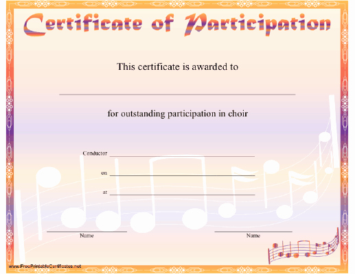 Printable Certificate Of Participation Elegant Choir Participation Certificate Printable Certificate