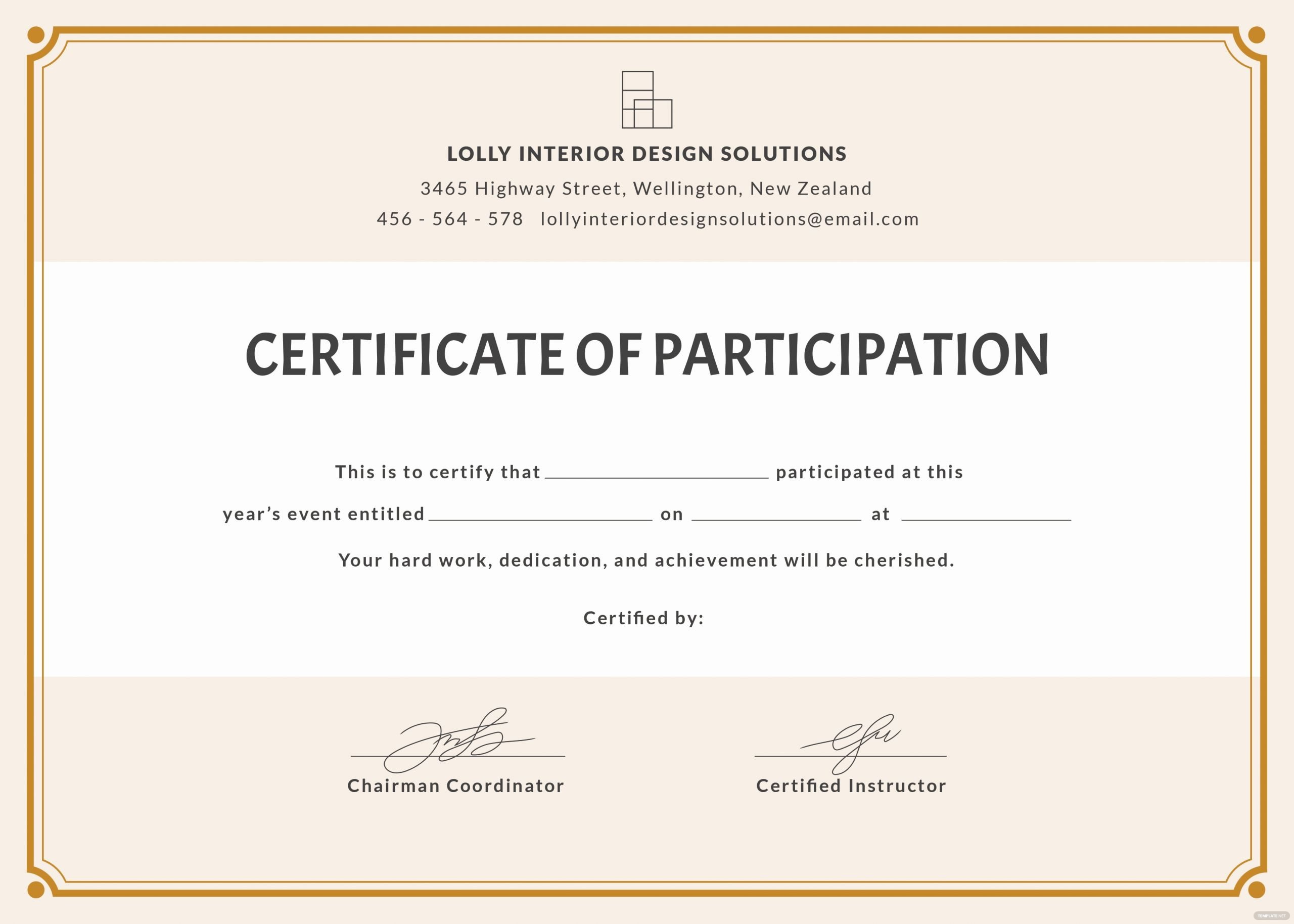 Printable Certificate Of Participation Elegant Free Blank Participation Certificate Template In Psd Ms