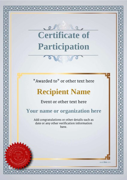 Printable Certificate Of Participation Fresh Participation Certificate Templates Free Printable Add