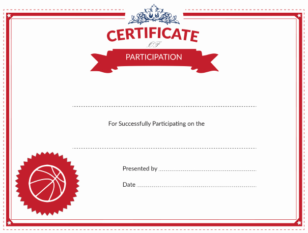 basketball certificate of participation award