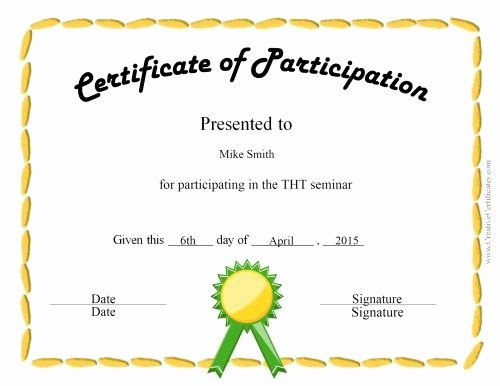 Printable Certificate Of Participation Inspirational Fun Certificate for Kids New