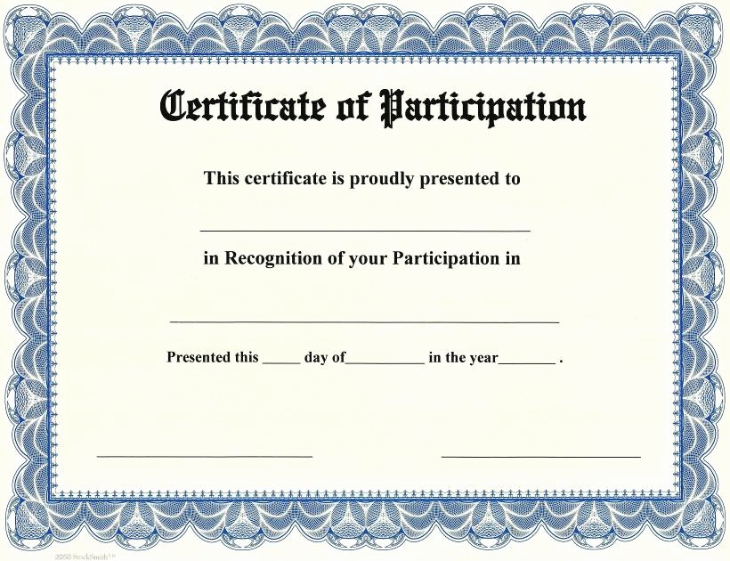 Printable Certificate Of Participation New Printable Participation Templates