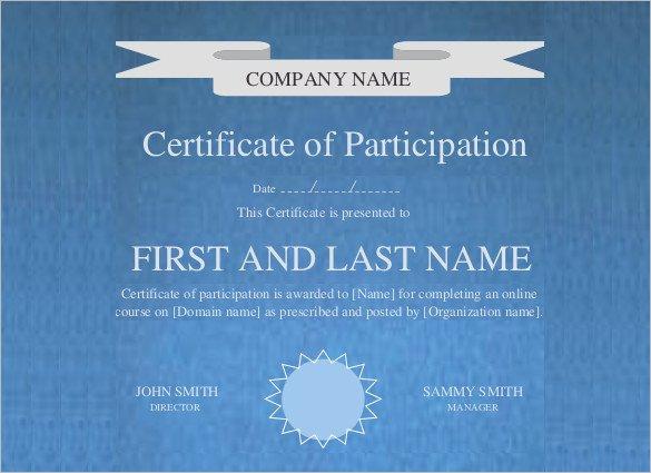 Printable Certificate Of Participation Unique Editable Printable Doc Certificate Of Participation Template1