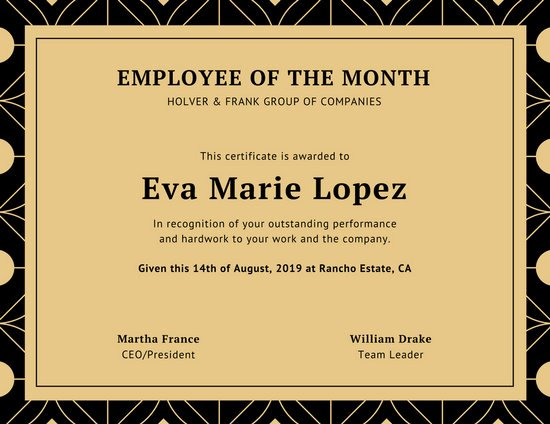 Printable Employee Of the Month Certificate Fresh Customize 1 508 Employee the Month Certificate