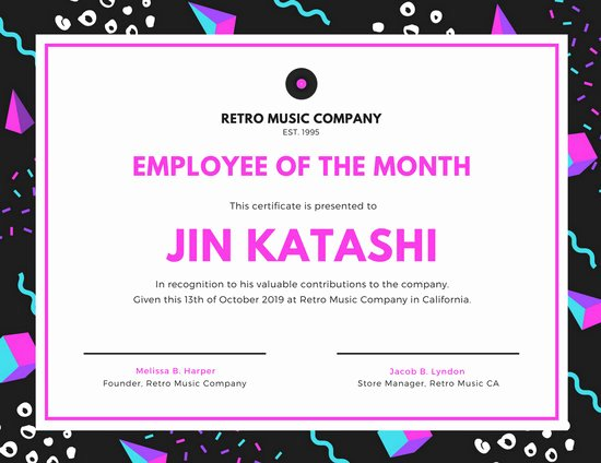 Printable Employee Of the Month Certificate Luxury Customize 1 508 Employee the Month Certificate
