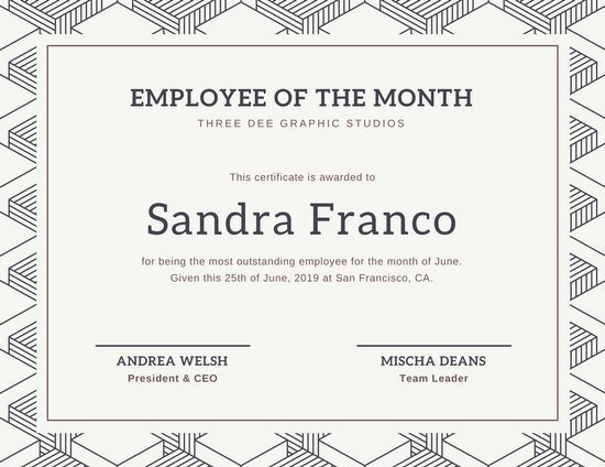 Printable Employee Of the Month Certificate New Customize 1 508 Employee the Month Certificate