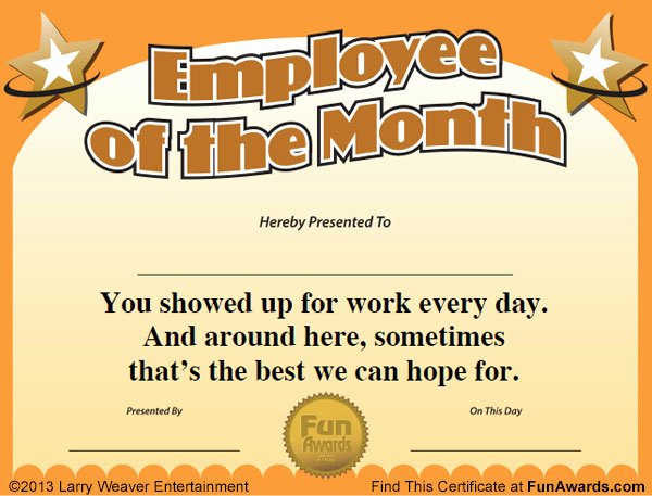 Printable Employee Of the Month Certificate New Employee Of the Month Certificate Free Funny Award Template