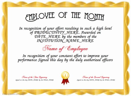 Printable Employee Of the Month Certificate Unique 9 Best Images About Awards Certificate Templates On Pinterest