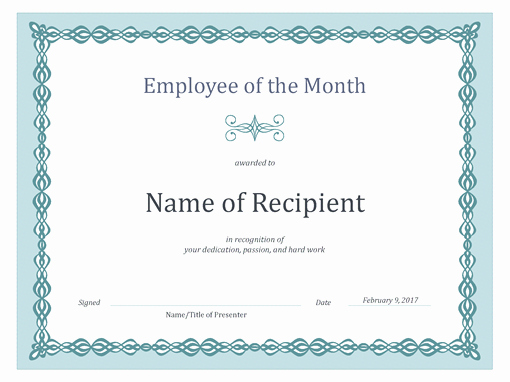 Printable Employee Of the Month Certificate Unique Certificate for Employee Of the Month Blue Chain Design