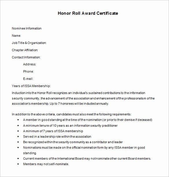Printable Honor Roll Certificate Elegant 8 Printable Honor Roll Certificate Templates & Samples