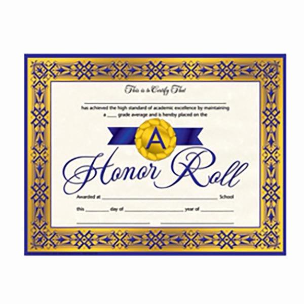 Printable Honor Roll Certificate Elegant Honor Roll Certificates