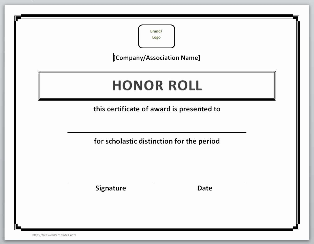 Printable Honor Roll Certificate Fresh 13 Free Certificate Templates for Word