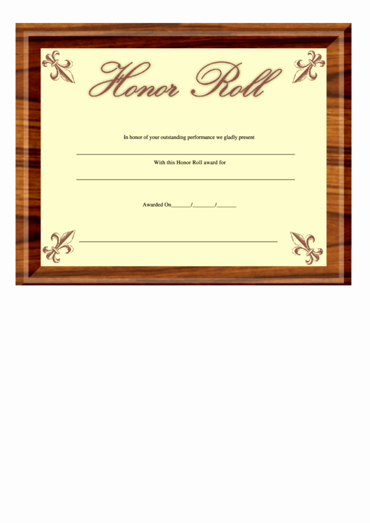 Printable Honor Roll Certificate Lovely Honor Roll Certificate Template Printable Pdf