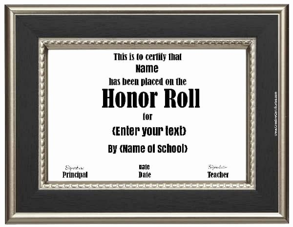 Printable Honor Roll Certificate New Free Honor Roll Certificates Customize Line