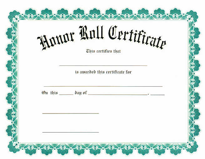 Printable Honor Roll Certificate Unique Award Certificates