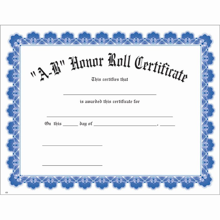 Printable Honor Roll Certificates Beautiful A B Honor Roll Blue Uw Certificate Jones School Supply