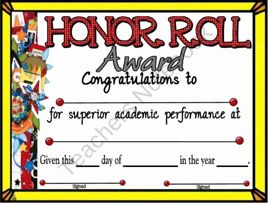 Printable Honor Roll Certificates Fresh Honor Roll Certificate 5 From A Teacher In Paradise On