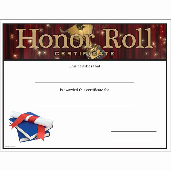 Printable Honor Roll Certificates Lovely Honor Roll Certificate Jones School Supply