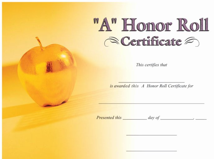 "Printable Honor Roll Certificates New ""a B"" Honor Roll Image Certificate – Wilson Awards"