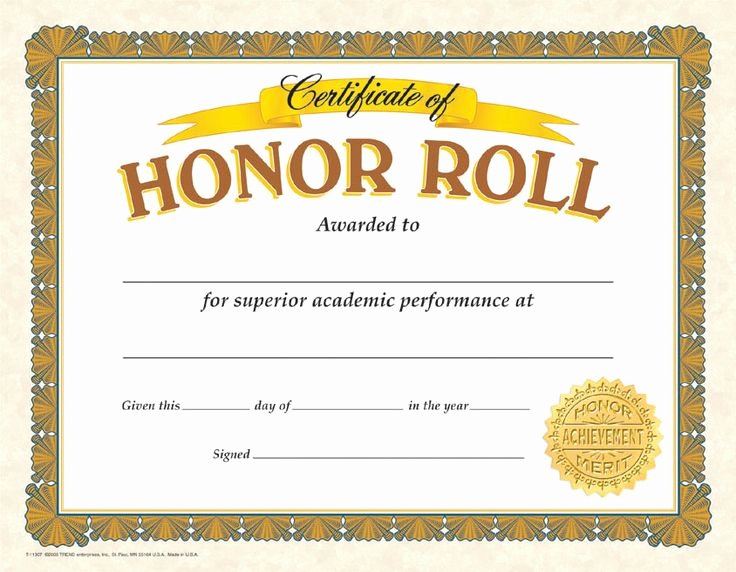 Printable Honor Roll Certificates Unique Gold Colored Honor Roll Certificates