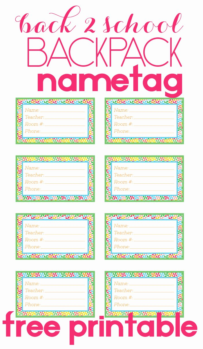 Printable Name Plate Beautiful Back to School Backpack Name Tag