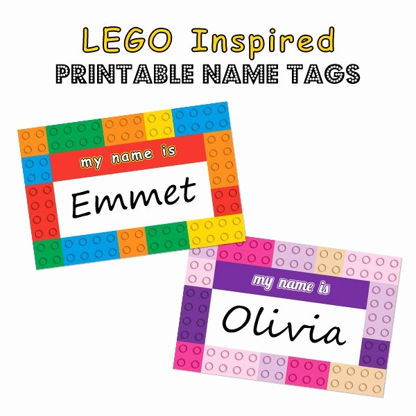 Printable Name Plate Elegant Lego Inspired Printable Name Tags