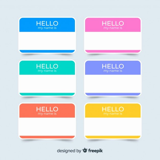 Printable Name Plate New Colorful Name Tag Template Collection Vector