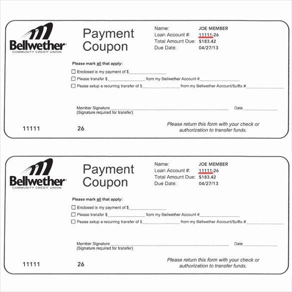 Printable Payment Coupons Fresh Payment Coupon Templates – 11 Free Printable Pdf