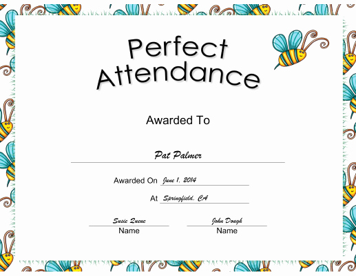 Printable Perfect attendance Award Best Of Perfect attendance Certificate Printable Certificate