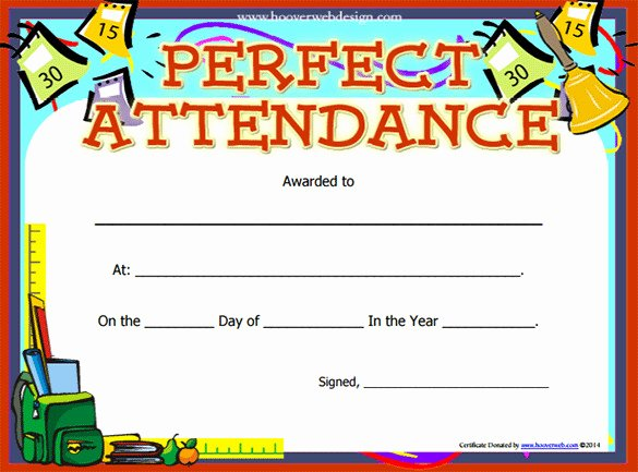 Printable Perfect attendance Award Fresh Perfect attendance Certificate Template