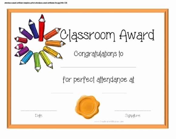 Printable Perfect attendance Award Luxury 40 Printable Perfect attendance Award Templates & Ideas