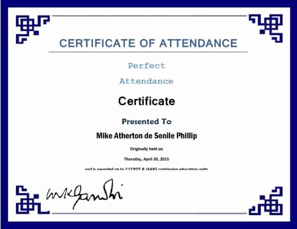 Printable Perfect attendance Award New 40 Printable Perfect attendance Award Templates & Ideas