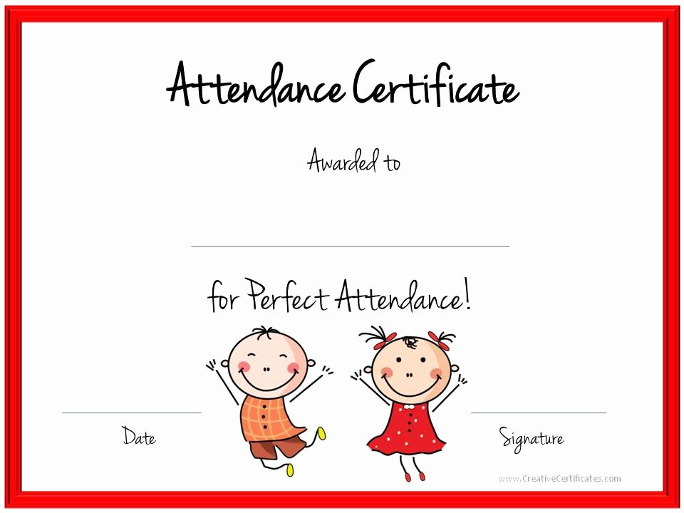 Printable Perfect attendance Award Unique Quotes for attendance Certificates Quotesgram