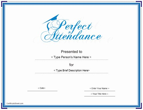 Printable Perfect attendance Awards Beautiful Printable attendance Certificates