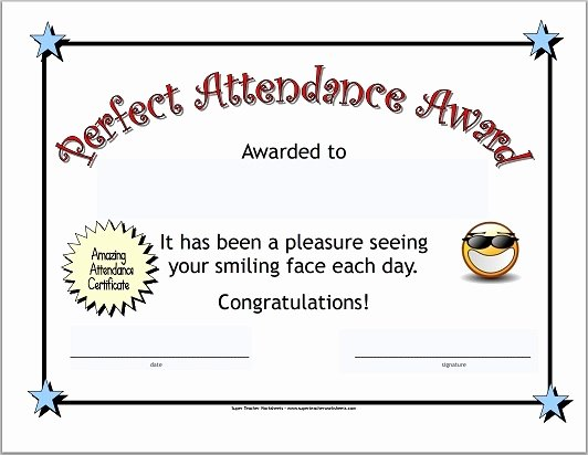 Printable Perfect attendance Awards Fresh Perfect attendance Certificate