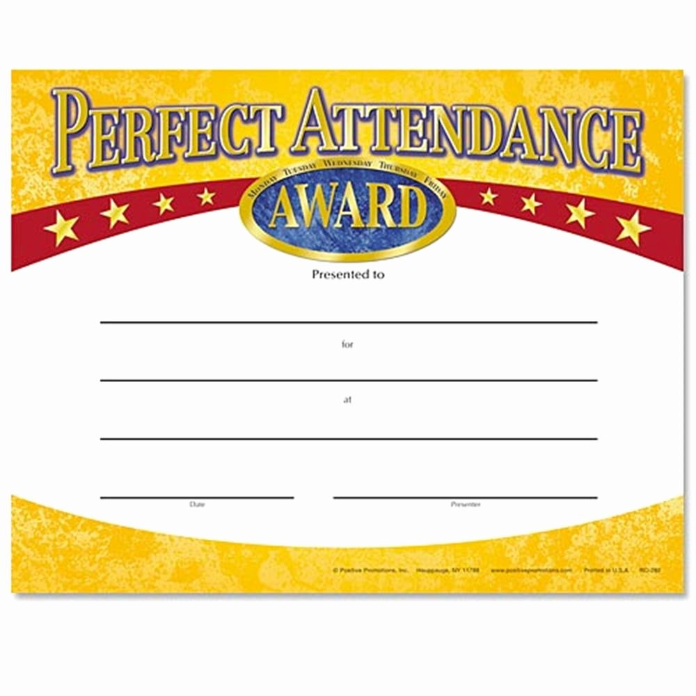 Printable Perfect attendance Awards Lovely Perfect attendance Yellow Gold Foil Stamped Certificates