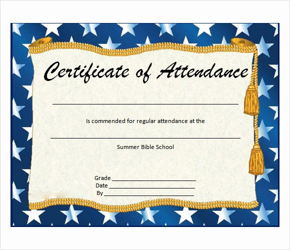 Printable Perfect attendance Certificate Beautiful 23 Sample attendance Certificate Templates In Illustrator