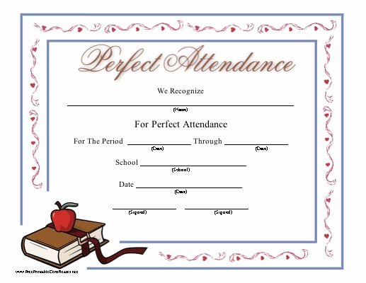 Printable Perfect attendance Certificate Beautiful This Printable Certificate Honoring Perfect attendance at