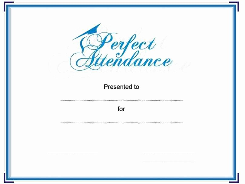 Printable Perfect attendance Certificate New Free Printable Perfect attendance Certificate Template